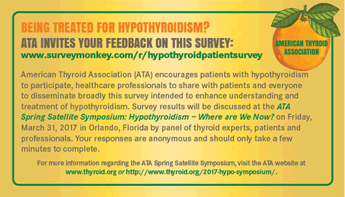 ATA Hypothyroidism Satellite Patient Survey